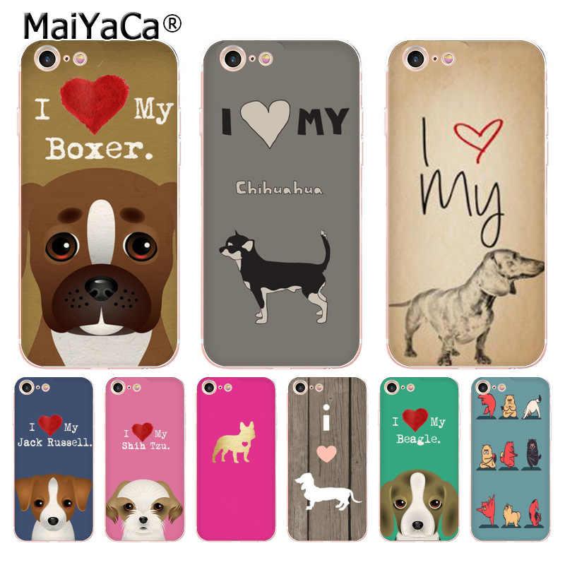 Maiyaca I Love My Chihuahua Chó Pug Dễ Thương Phụ Kiện Điện Thoại Ốp Lưng Cho iPhone 8 7 6 6S 6S Plus X 5 5S SE 11pro Bao