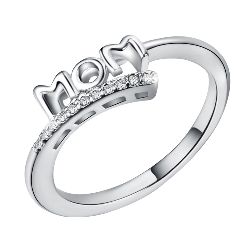 Vintage Silver Love Mom Ring