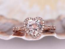 MYRAY Natural 8mm Heart Shaped Pink Morganite 14k Rose Gold Wedding Engagement Ring Women Anniversary Rings Vintage Jewelry Gift