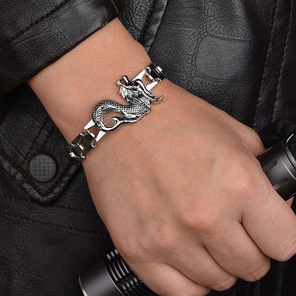 Domineering Twelve Zodiac Dragon Pattern Stainless Steel Silver Jewelry Fashionable allo ...