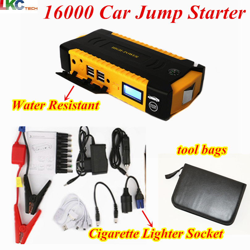 Best Quality new bag 16000mAh 12V Car Jump Starter Portable 600A Peak Car Charger 4USB Compass SOS Light for Petrol Diesel Car
