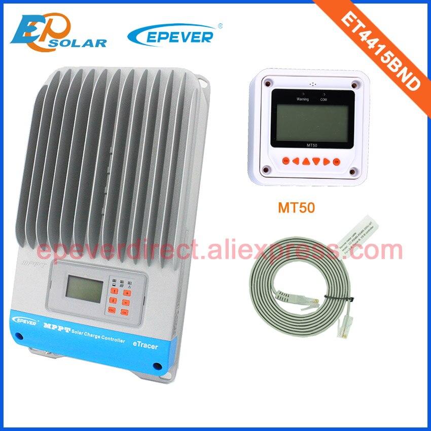 45A ET4415BND high quality mppt 12v/24v/36v/48v auto work solar controller with white MT50 remote meter45A ET4415BND high quality mppt 12v/24v/36v/48v auto work solar controller with white MT50 remote meter