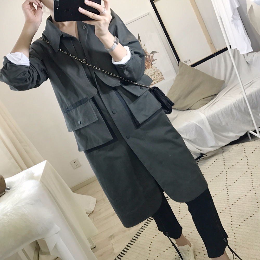 M&B new fashion british style classic Army green ladies overcoat windbreaker hollow out long trench coat 2017 spring coat women