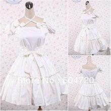 V-1241 White cotton Sweet School Lolita Dress victorian dress Cocktail facaeb4c79bb