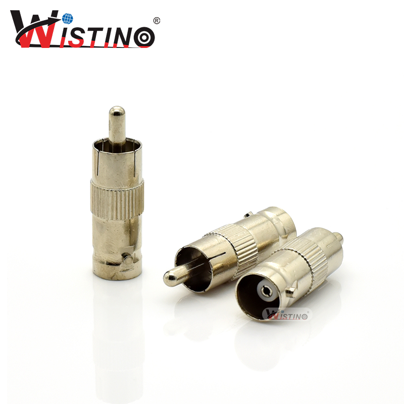 Wistino 5pcs BNC to RCA Coupler Cable Connector Adapter BNC Male to RCA Male Coax CCTV Cameras Security Surveillance Access