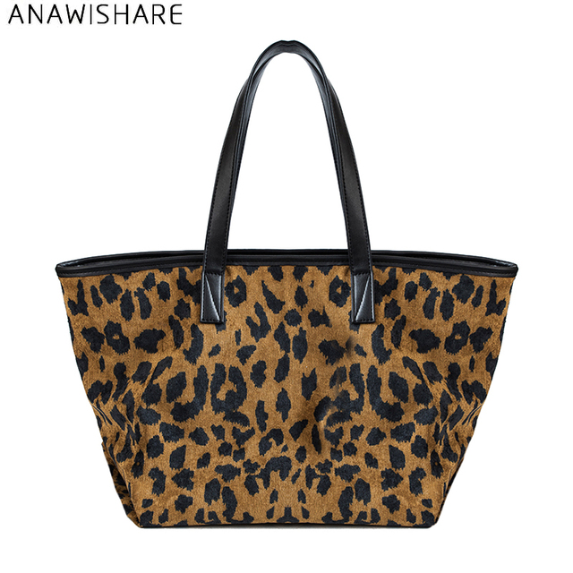 Anawishare Women Leopard Handbags Large Shoulder Bags Las Tote Corduroy Bolsa Feminina Bolsos Mujer