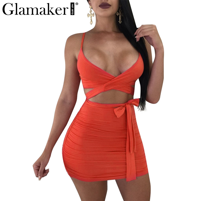 Glamaker Orange v neck bow tie sexy dress Women two-piece suit cross cropped beach summer dress 2018 Bodycon wrap party dress