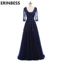セクシーなvネックレースアップリケ紺ブルゴーニュイブニングドレスサッシウエディングドレス2018女