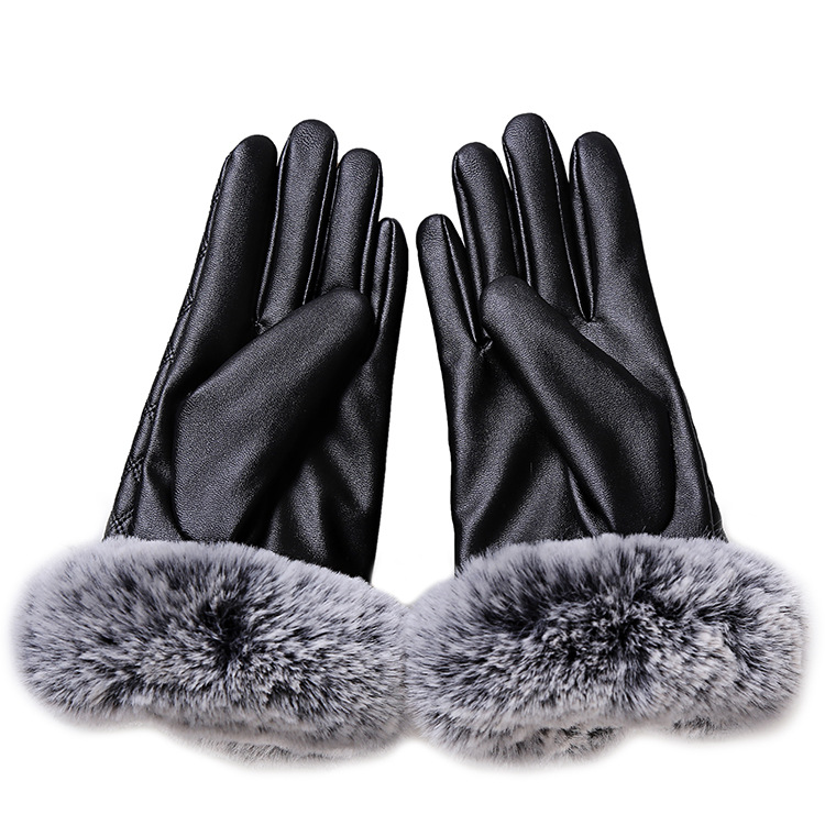 HTB1V8h5bC7PL1JjSZFHq6AciXXad - KUYOMENS Fashion Women Warm Thick Winter Gloves Leather Elegant Girls Brand Mittens Free Size With Rabbit Fur Female Gloves