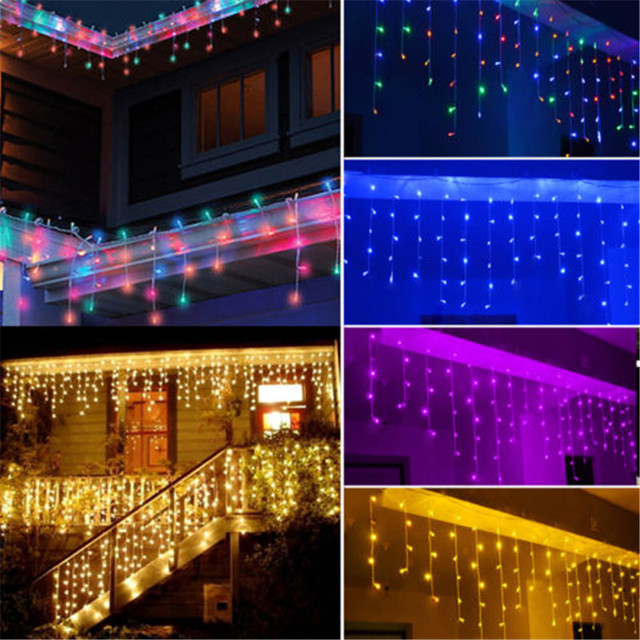 Curtain Lights Christmas Hanging Icicle Garland String Light Outdoor 4M Droop 0.3-0.6M 220V/110V New Year Xmas Wedding Decor