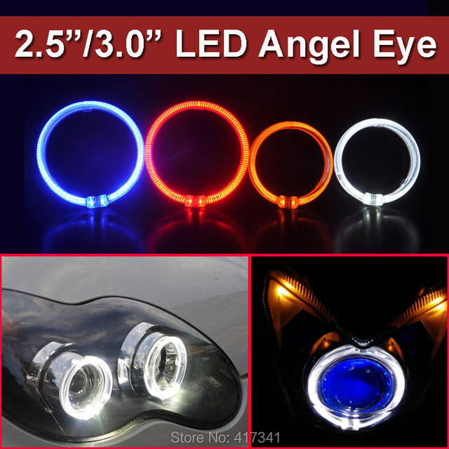 High Quality Led Light Guide Angel Eye Ring 3 0 Inches Halo Rings 2pcs Good For Bi Xenon Projector Lens Mask Headlight