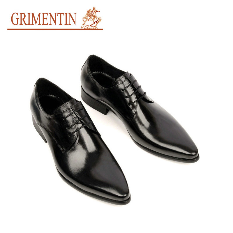 Grimentin Fashion Italian Designer Formal Mens Dress Shoes Genuine Leather Black Luxury Wedding Male Office