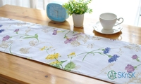 1pcs/lot Korean style tassel knot table cloth home decoration flower printed table runner cotton and linen blended table flags