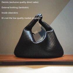 حقيبة يد فاخرة للنساء حقائب مصمم جلد الغنم الأدمة الداخلية والخارجية الإناث حقيبة امرأة Wovenbag حقيبة كتف مفردة