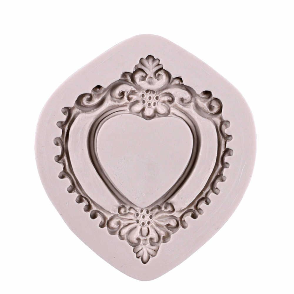 3D винтажный в форме сердца зеркало рамка силиконовая форма формочка «кружево» формы для помадки шоколада инструменты для украшения торта