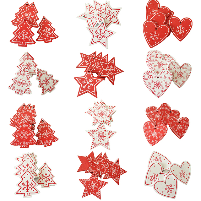10pcs 5CM New Year Natural Wood Christmas Ornaments Pendant Hanging Gifts Snowflakes Xmas Tree Decor Home Decorations