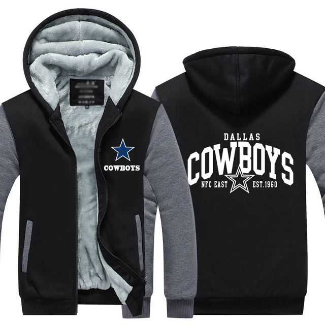 e4a3f4193 Dropshipping Mens Thicken Hoodie Dallas Cowboys Fan Warm Sweatshirt Coat  Zipper Jacket Us Size