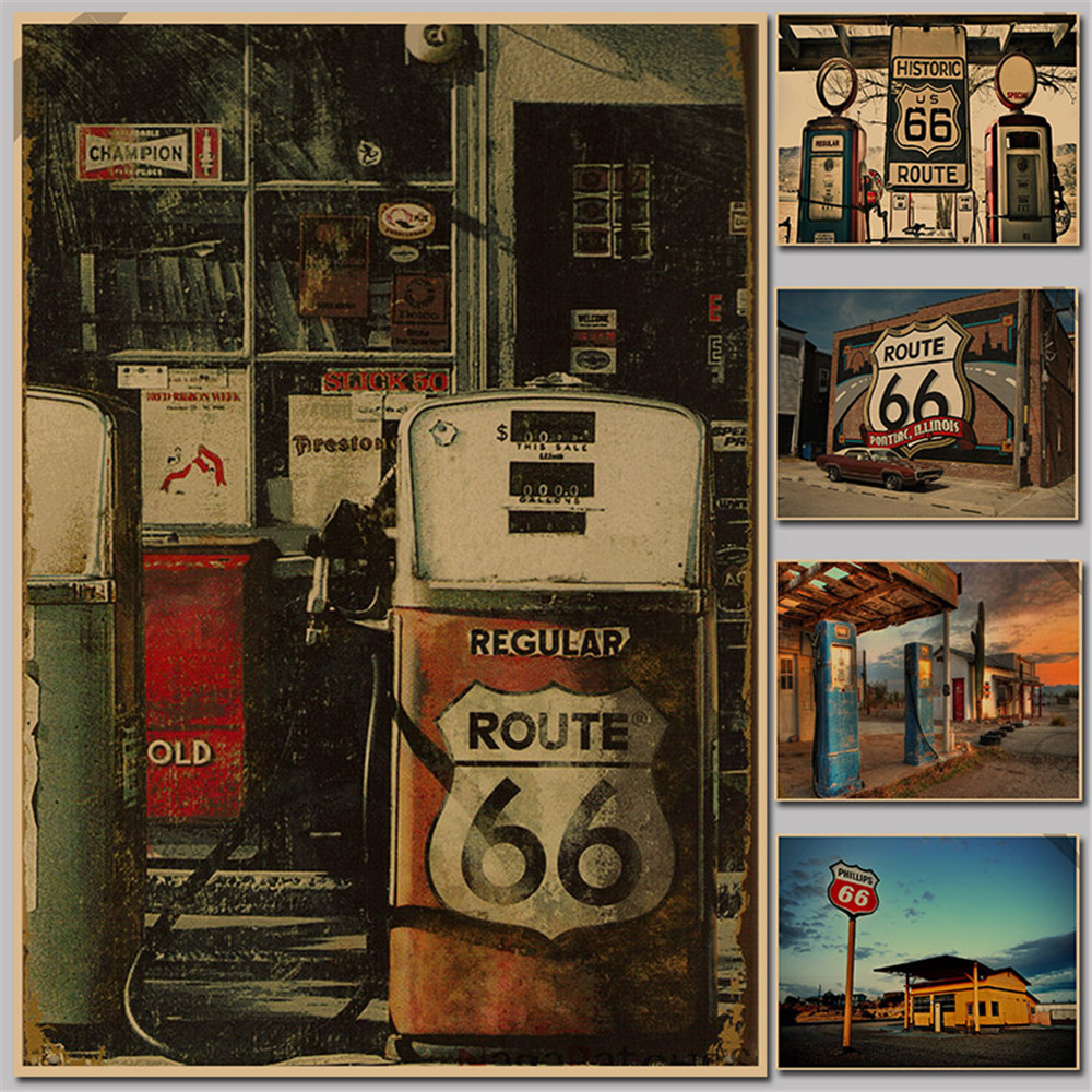 US Route 66 gas station / retro nostalgia / kraft paper poster /51x35.5cm paper Kraft Posters shelf