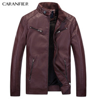 Caranfier新しい男性レザージャケットバイカー男性ジャケットパンクジャケットオートバイボンバーシンプルなpuレジャーメンズフェイクファーコートml xl 2xl 3xl