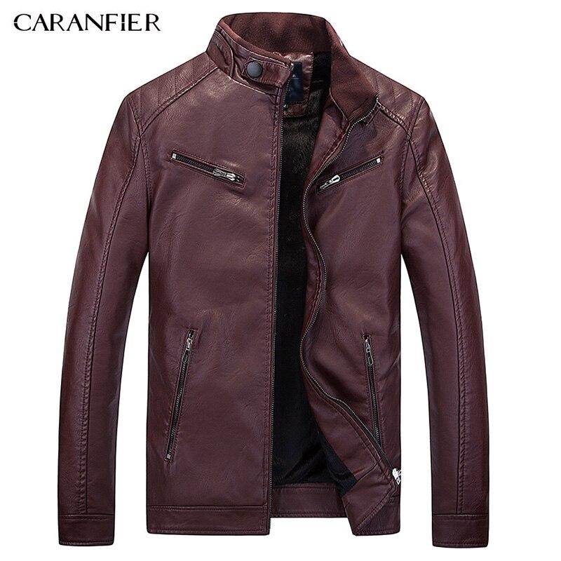 Caranfier новый мужской кожаный куртка Байкер Для мужчин куртка панк мотоцикл куртка-бомбер простой для досуга из PU искусственной кожи Для мужч...