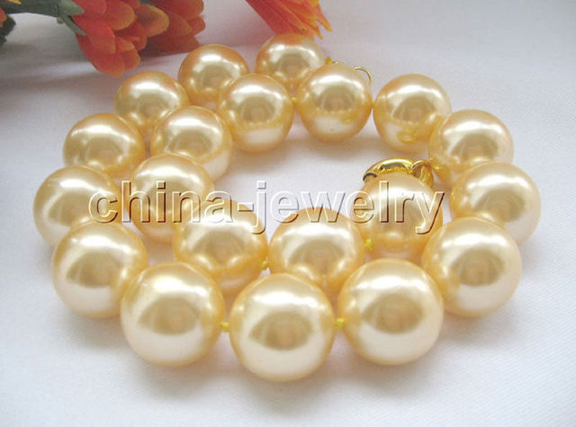 """P4677-18"""" 20mm natural gold color south sea shell pearl necklace"""