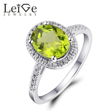 Leige Jewelry Fine Jewelry Real Peridot Engagement Ring 925 Silver Rings for Women Anniversary Gift Oval Cut August Birthstone