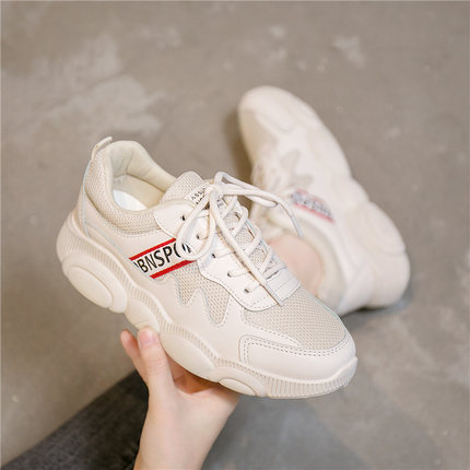 Ins small white old shoes women's shoes 2019 tide shoes summer new sports summer breathable wild gas single shoes