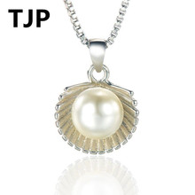 TJP Unique Scallop Pendants Necklace For Fashion Girl Date Party Top Quality 925 Sterling Silver Necklace Jewelry Women Lady недорого