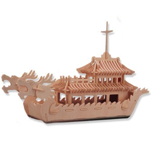 3D Dragon Boat Wooden Puzzle  Jigsaw Educational Toy for Your Little Kid Delicate Design Hot Selling Children Gift