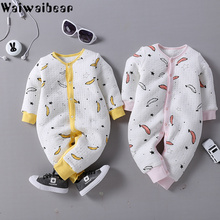 Купить с кэшбэком Baby Infant Rompers Baby Boys Girls Long-Sleeved Jumpsuits Baby Pure Cotton Rmopers Clothes With Quality Assurance DD37