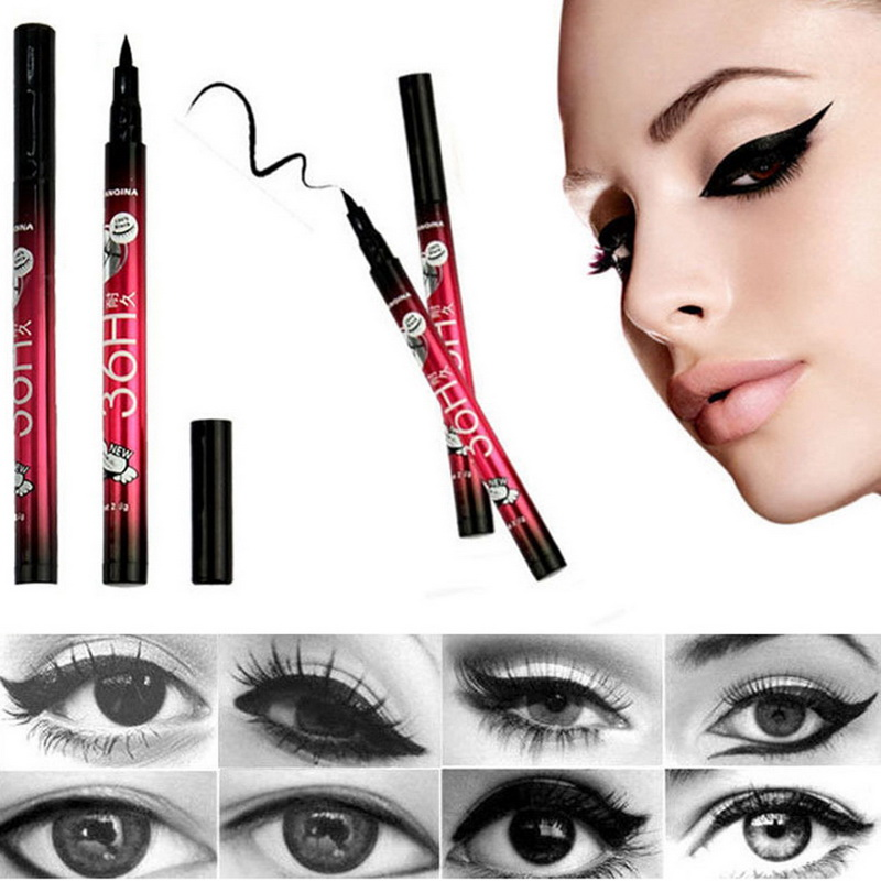 YANQINA Lasting 36H Liquid Eyeliner Pencil Waterproof Black Makeup Long-lasting Easywear Eye Liner Pen Cosmetic Lady Beauty Tool image