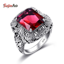 Szjinao Unique Handmade 925 Sterling Silver Ring Ruby Stones For Men Vintage Luxury Women Party Jewelry Factory Wholesale