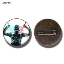 купить Anime Sword Art Online Brooch Pin Kirigaya Kazuto Yuuki Asuna Figure Badge Glass Cabochon Jewelry Gifts дешево