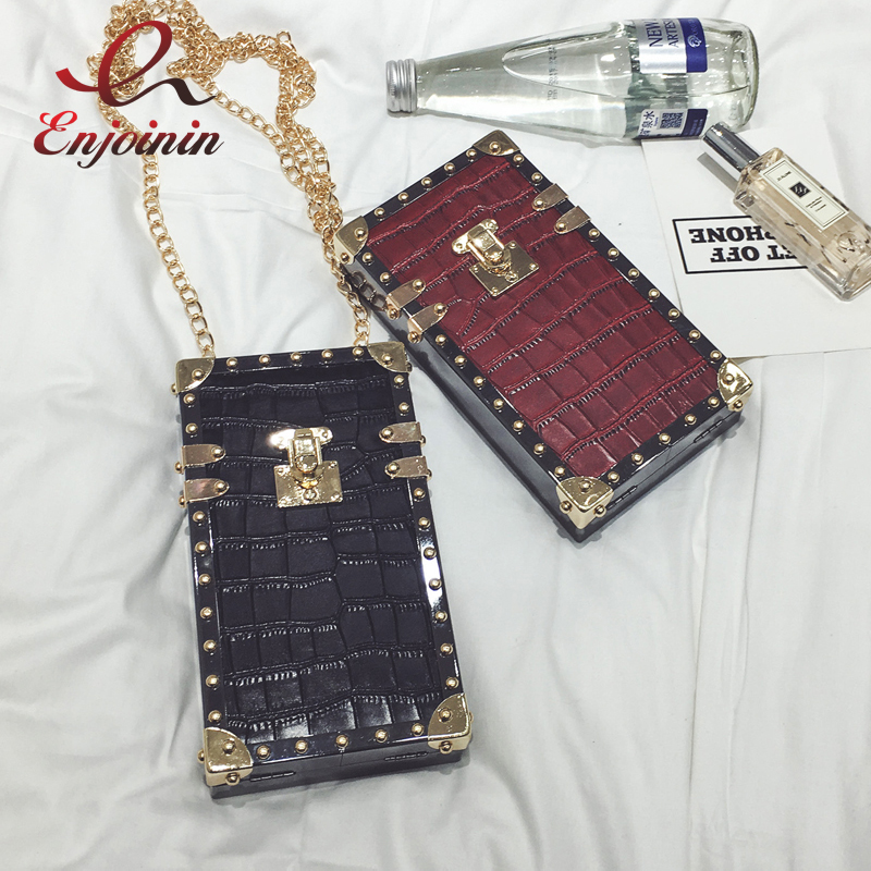 New style fashion pu leather rivet stone pattern mini chain shoulder bag ladies handbag purse crossbody