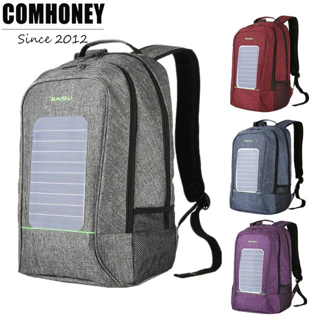 Urban Men Backpacks Solar Charging Anti Theft Backpack Waterproof 16 Inch Laptop Bookbag External USB