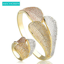 MECHOSEN New Arrival Three Color Leaves Shape Bangles Ring Set For Women Cubic Zirconia Copper Metal Bracelet Aneis Jewelry Sets(China)
