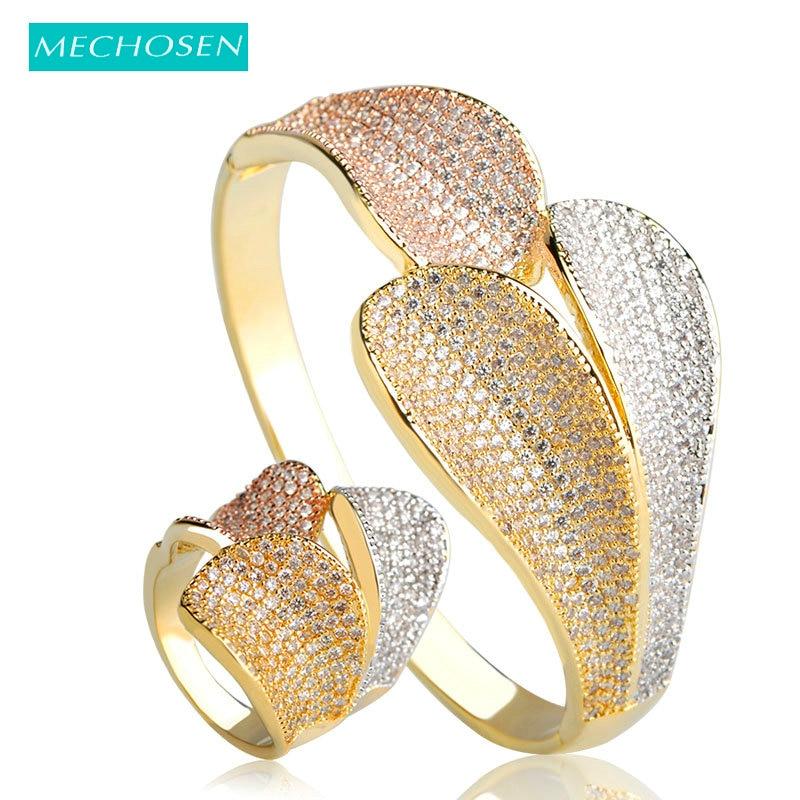 Mechoice nouveauté trois couleurs feuilles forme bracelets bague ensemble pour femmes cubique zircone cuivre métal Bracelet Aneis ensembles de bijoux