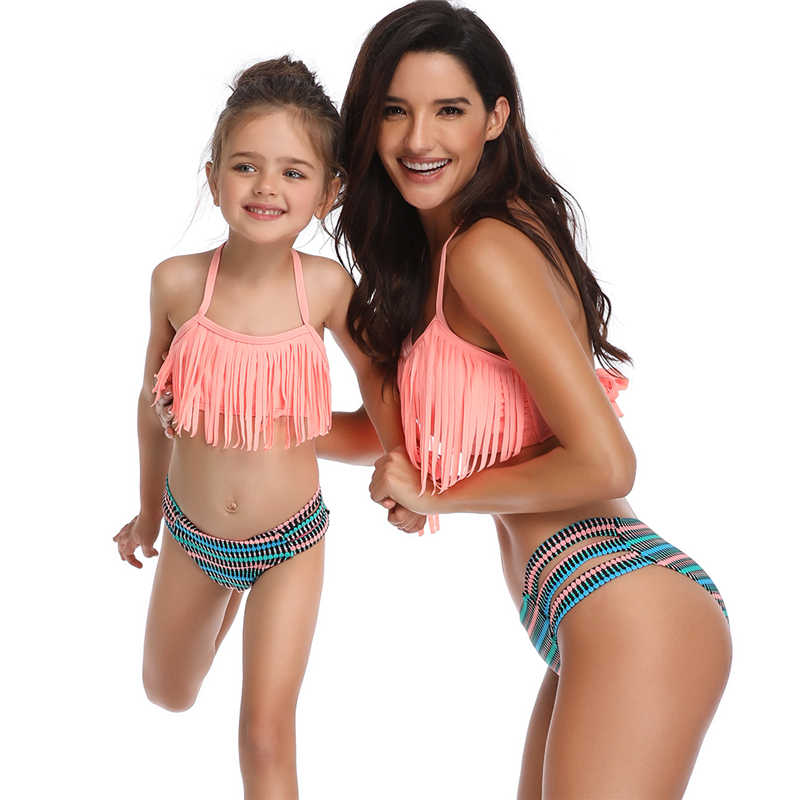 2c26db8c5153b Tassel Two Pieces Cute Bikini Family Matching Outfits Babay Kids Children  Girl adult Swimwear Bathing Female