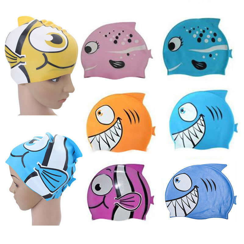 New Silicone Kids Children Cap Hat Fish Print  Hat cartoon cap cute the new children s cubs hat qiu dong with cartoon animals knitting wool cap and pile