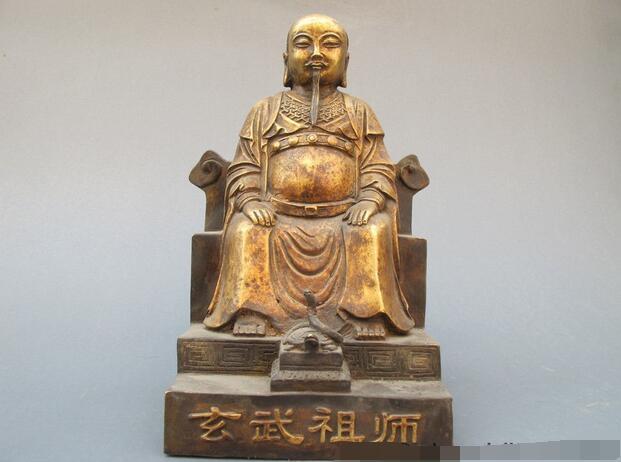 Chinese Classical Bronze Hand-carved Xuan Wu Taoism ancestor Buddha statue