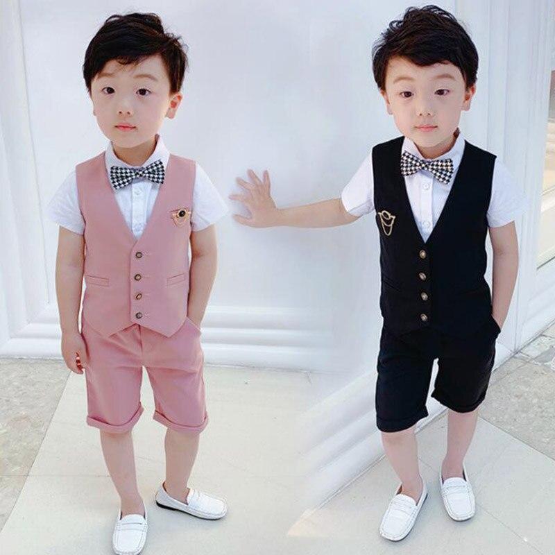2019 summer boys suits children weeding party sets vest suit 2pcs short shirt + pant kids outfits clothes