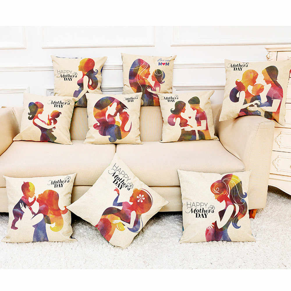 952d0779885 ... Happy Mother's Day Cushion Cover 45*45cm Cotton Linen Sofa Decorative  Throw Pillows case Pillow ...