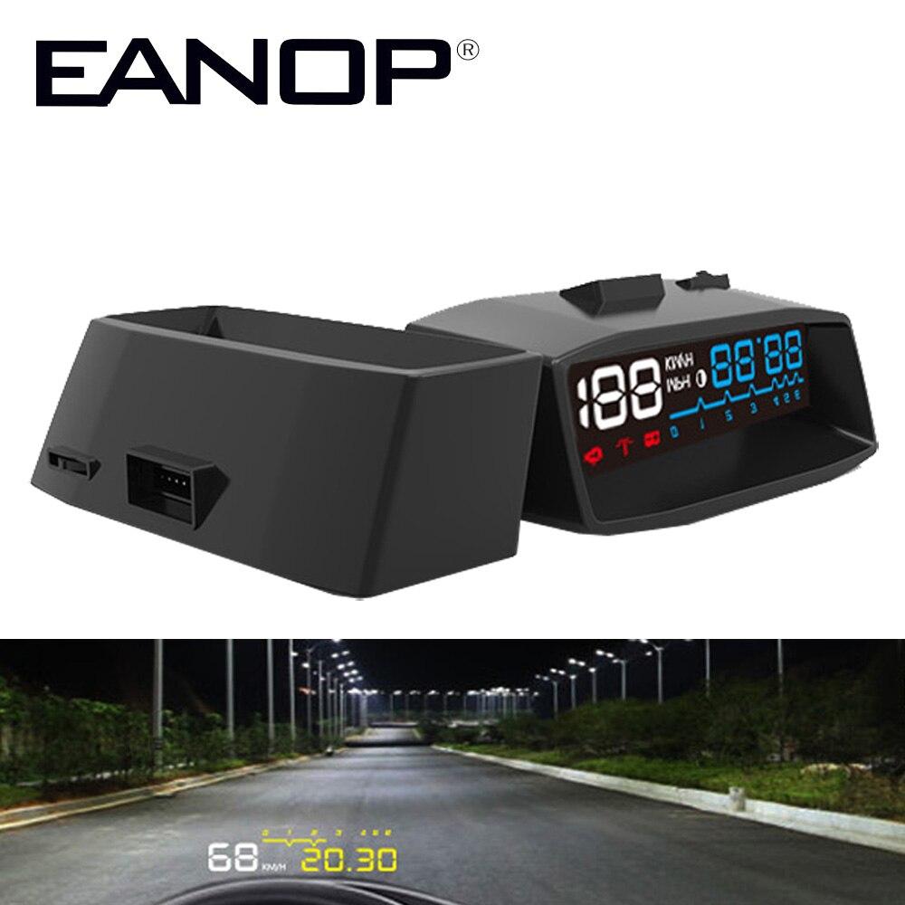 EANOP HUD Head-Up Display Car hud Projector OBD II EOBD Alarm System Vehicle-Mounted Speed Monitor KMH HPM Temperature Alarm