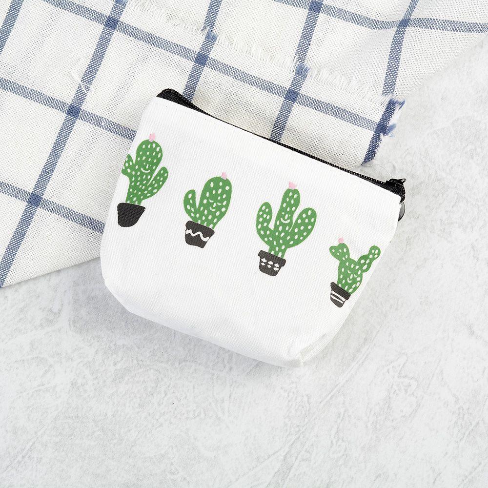 Retro Cactus Canvas Flowers Purse Wallet Card Key Coin Bag Zipper Pouch Holder canvas classic retro small change coin purse little key pouch money bag cotton pocket pouch women zipper key case holder wallet