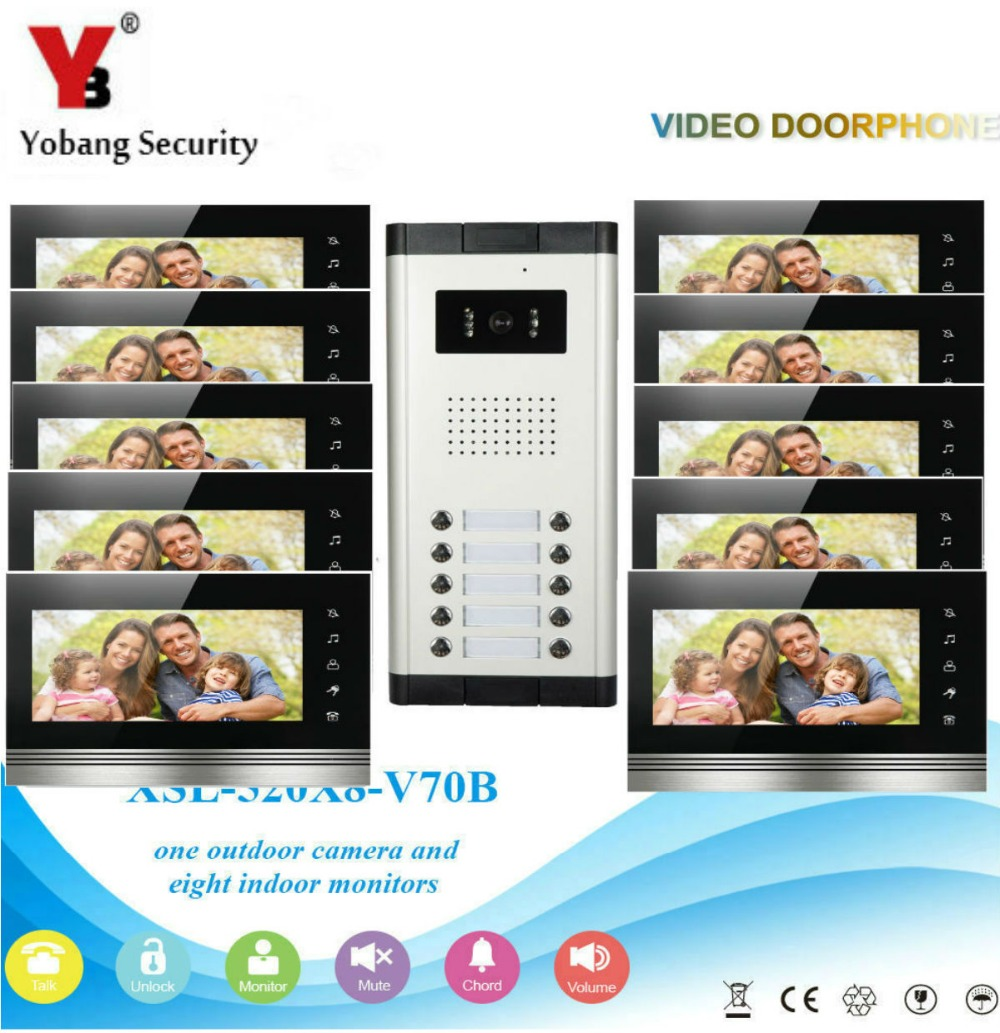 Yobang Security Home Video Intercom 7'Inch Monitor Video Doorbell Speakerphone Intercom Camera System For 10 Units Apartment yobang security free ship 7 video doorbell camera video intercom system rainproof video door camera home security tft monitor
