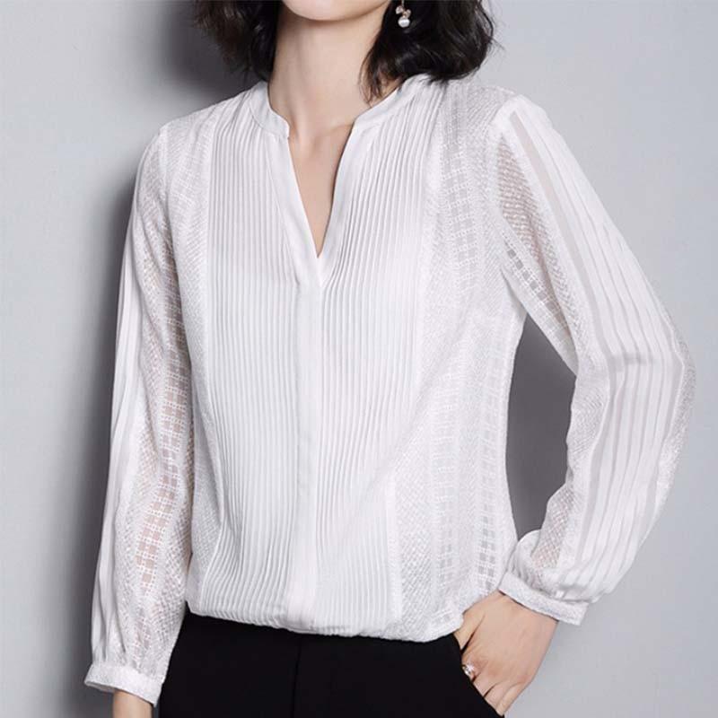 MX180 Neue Ankunft Frühling 2017 elegant vintage langarm chiffon patchwork pailletten perlen weißer spitze shirt frauen - 3