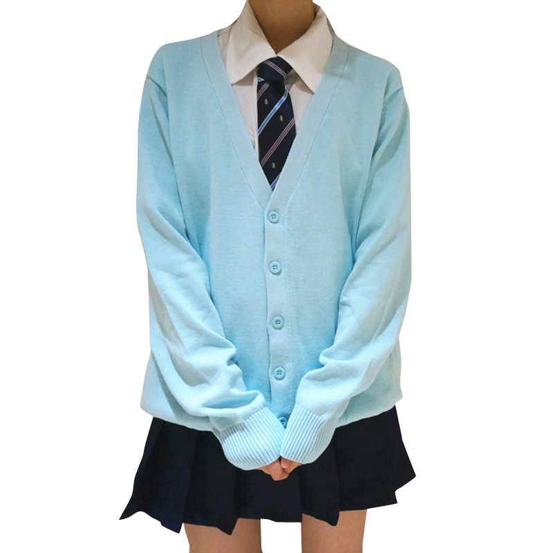 Fashion Autumn Japanese Style Students School Uniform Long Sleeve Girl Cute Open Cardigan