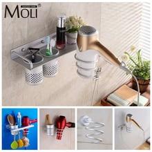 Многофункциональный фен-держатель для ванной комнаты, настенный стеллаж, алюминиевый органайзер для хранения на полке, фен-держатель F1009