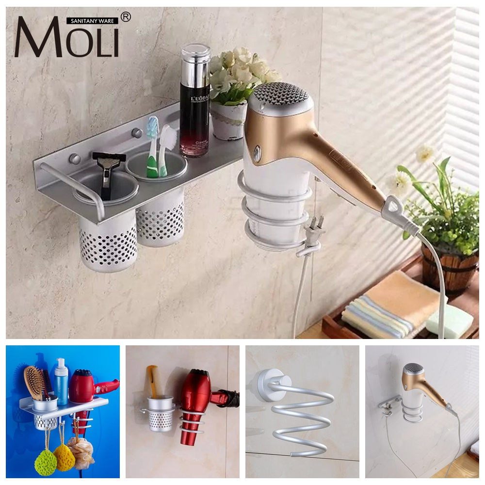 Multi-function Bathroom Hair Dryer Holder Wall Mounted  Rack Space Aluminum Shelf Storage Organizer Hairdryer Holder F1009
