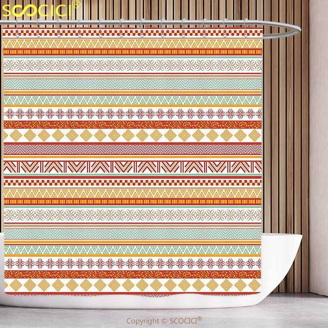Polyester Shower Curtain Tribal Decor Striped Vintage Native American Pattern With Geometric Floral Shapes Marigold Red And Tan